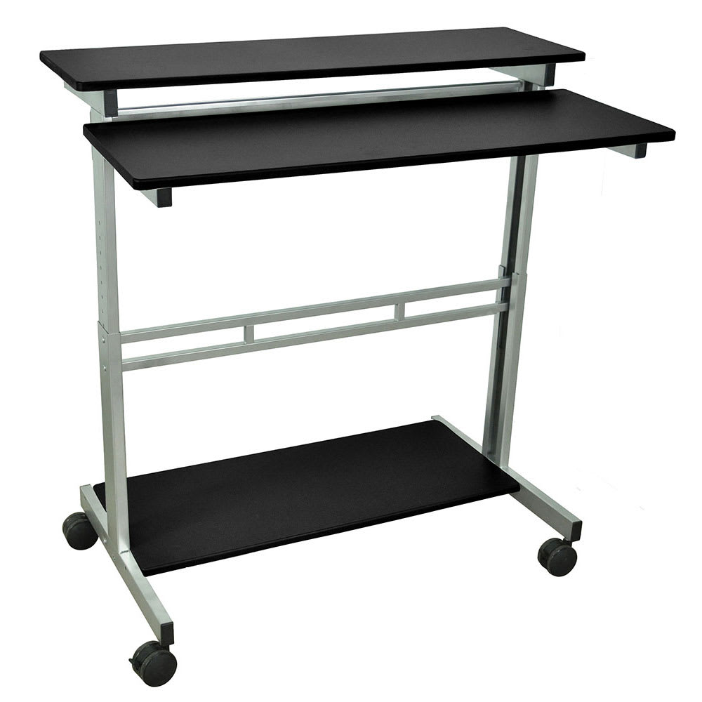 "Luxor Furniture STANDUP-40-B 40"" Mobile Standing Presentation Station - Adjustable Height, Steel Frame, Black"