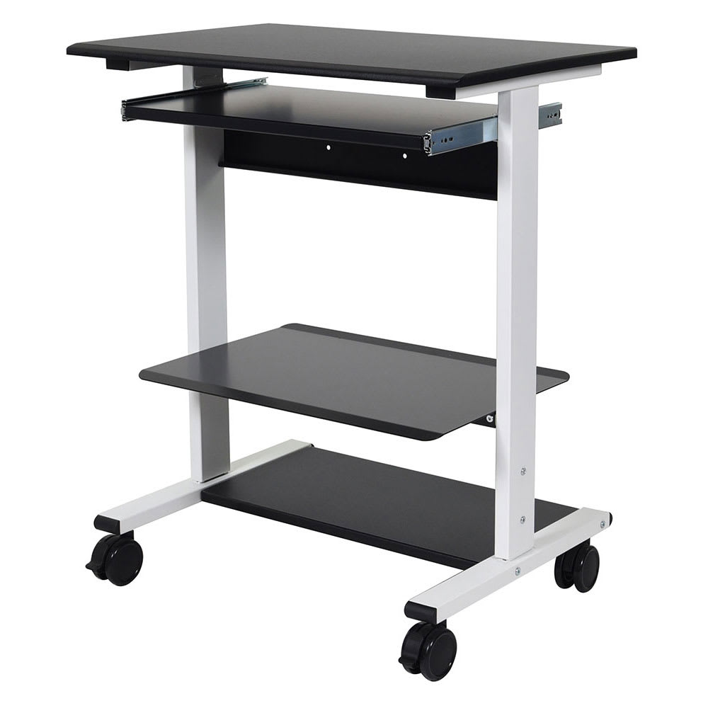 "Luxor Furniture STAND-WS30 29.5"" Adjustable Standing Workstation w/ (3) Shelves - Steel Frame, Black"