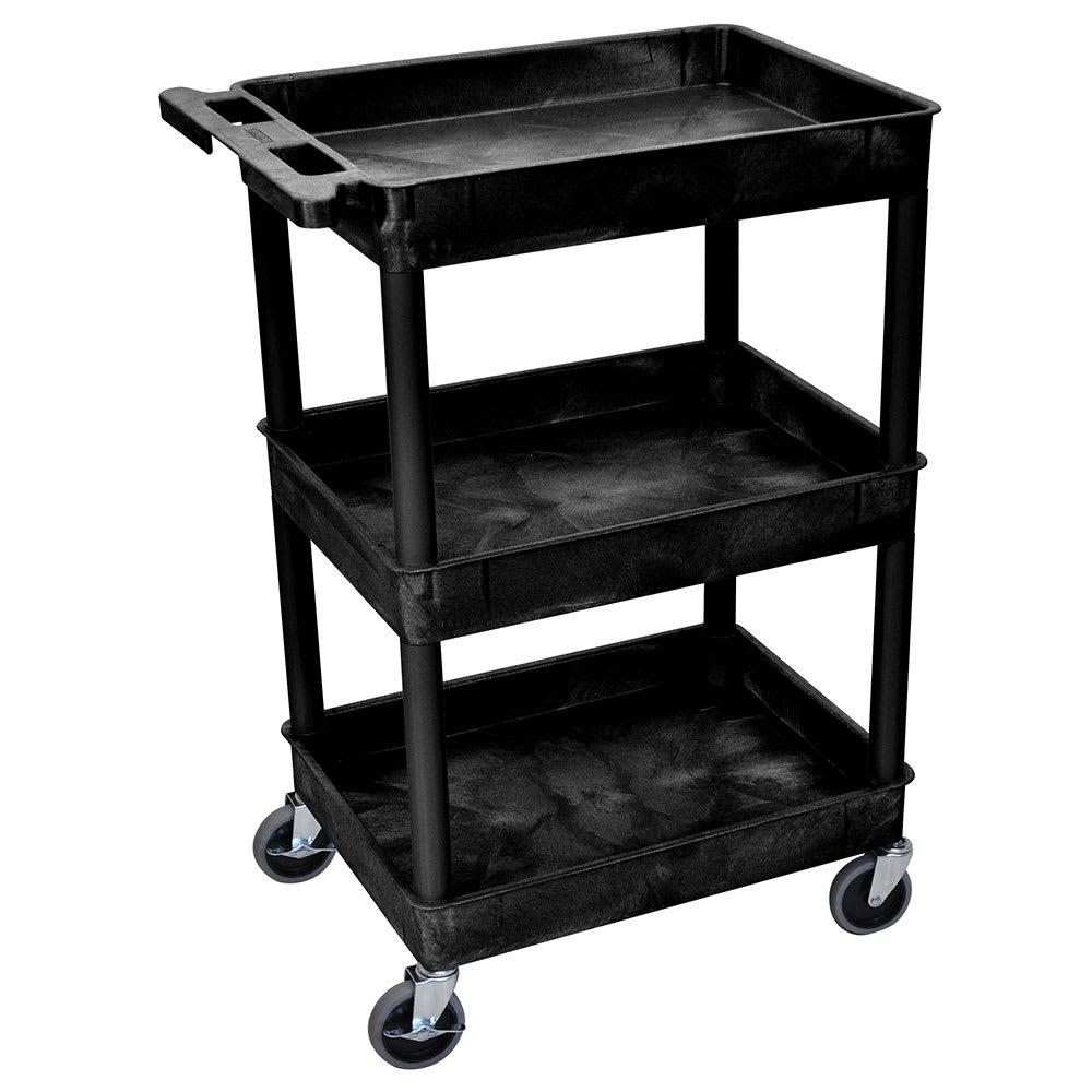 Luxor Furniture STC111-B 3 Level Polymer Utility Cart w/ 300 lb Capacity, Raised Ledges