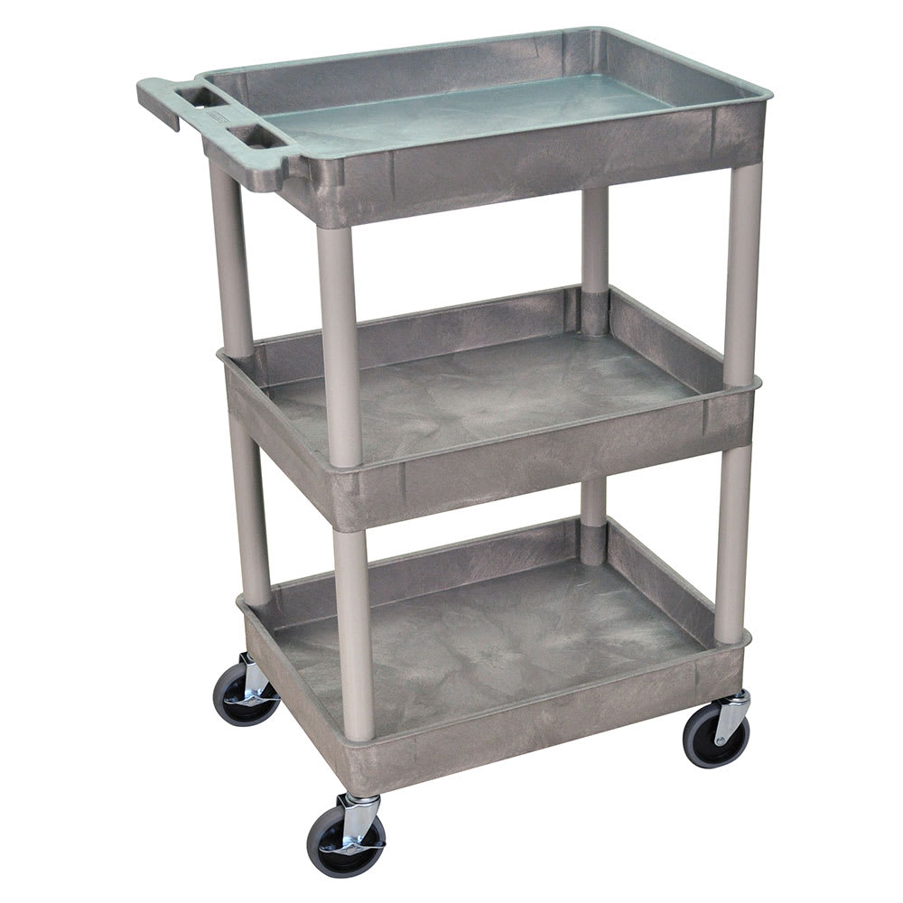 Luxor Furniture STC111-G 3-Level Polymer Utility Cart w/ 300-lb Capacity, Raised Ledges