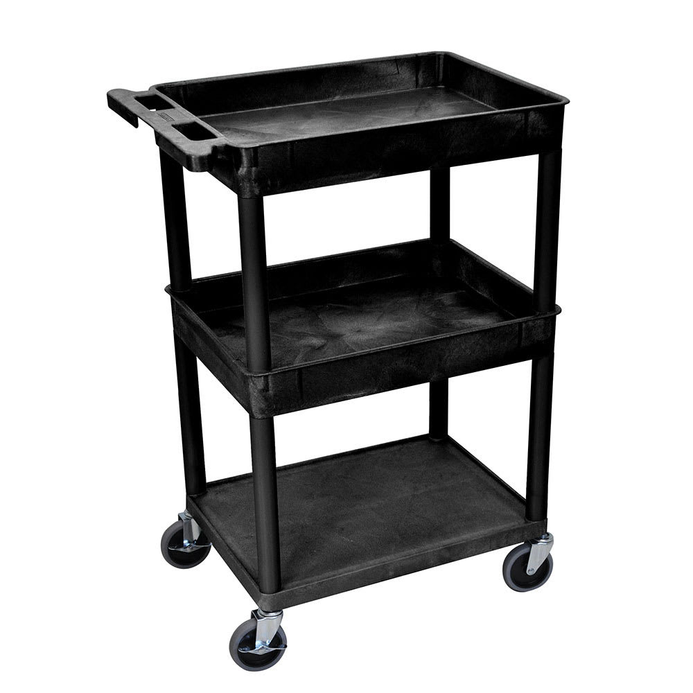 Luxor Furniture STC112-B 3-Level Polymer Utility Cart w/ 300-lb Capacity - Raised Ledges, Black