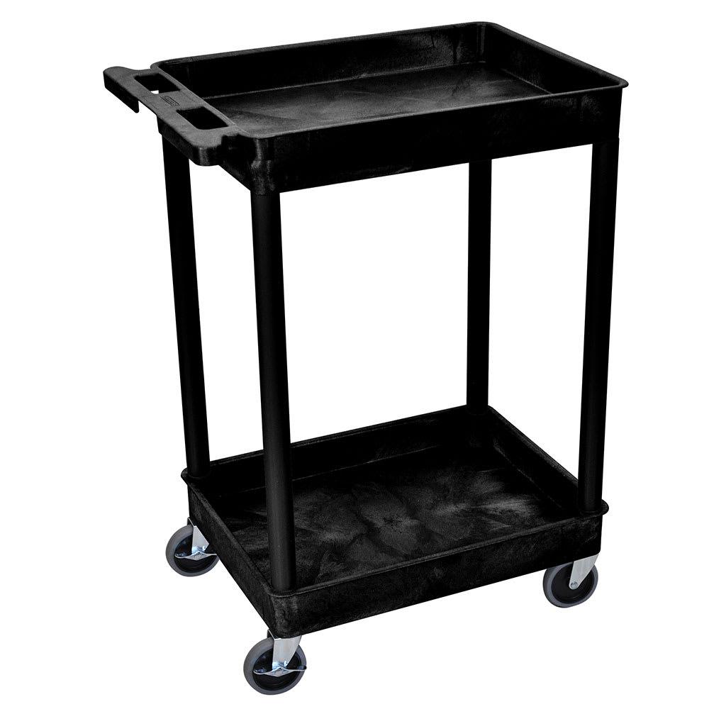 Luxor Furniture STC11-B 2-Level Polymer Utility Cart w/ 300-lb Capacity, Raised Ledges
