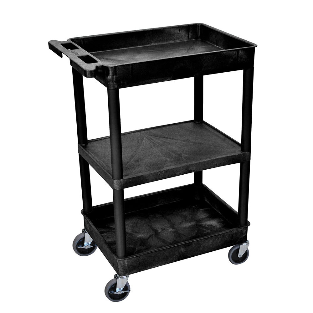 Luxor Furniture STC121-B 3-Level Polymer Utility Cart w/ 300-lb Capacity - Raised Ledges, Black