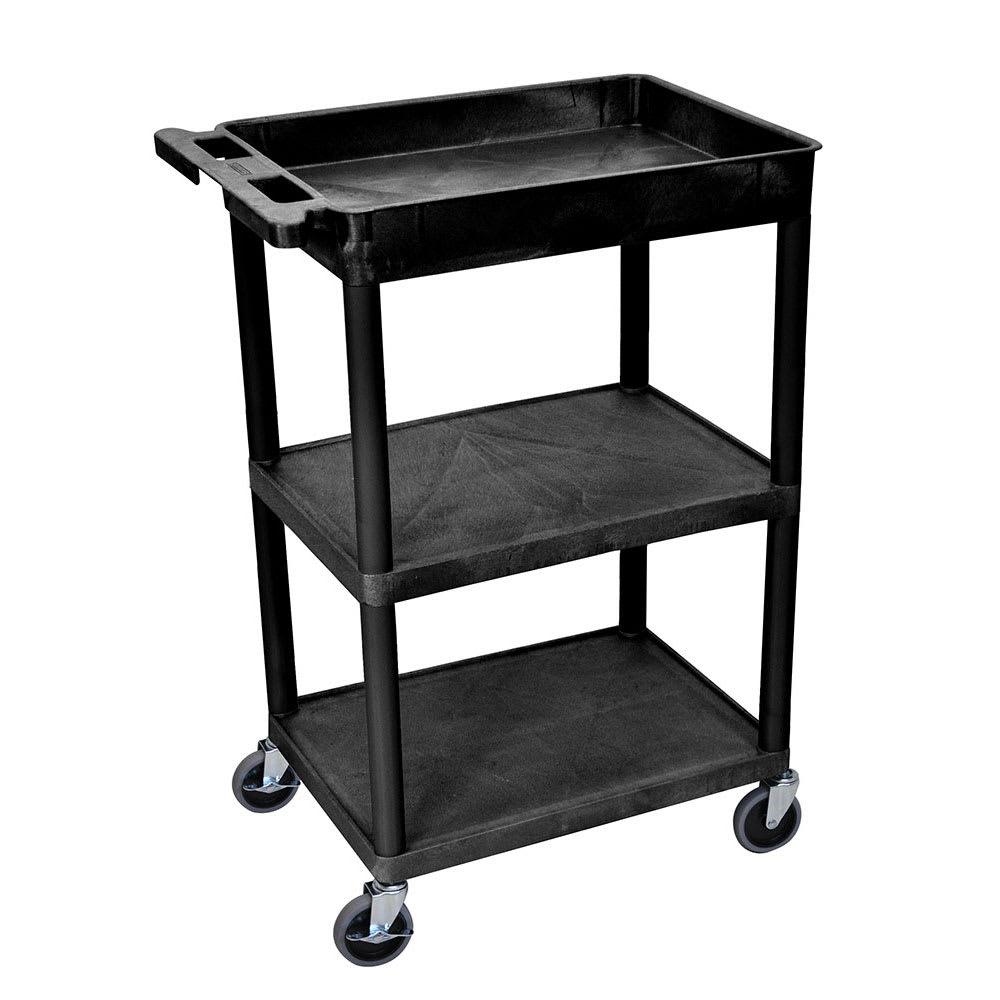 Luxor Furniture STC122-B 3 Level Polymer Utility Cart w/ 300 lb Capacity - Raised Ledges, Black