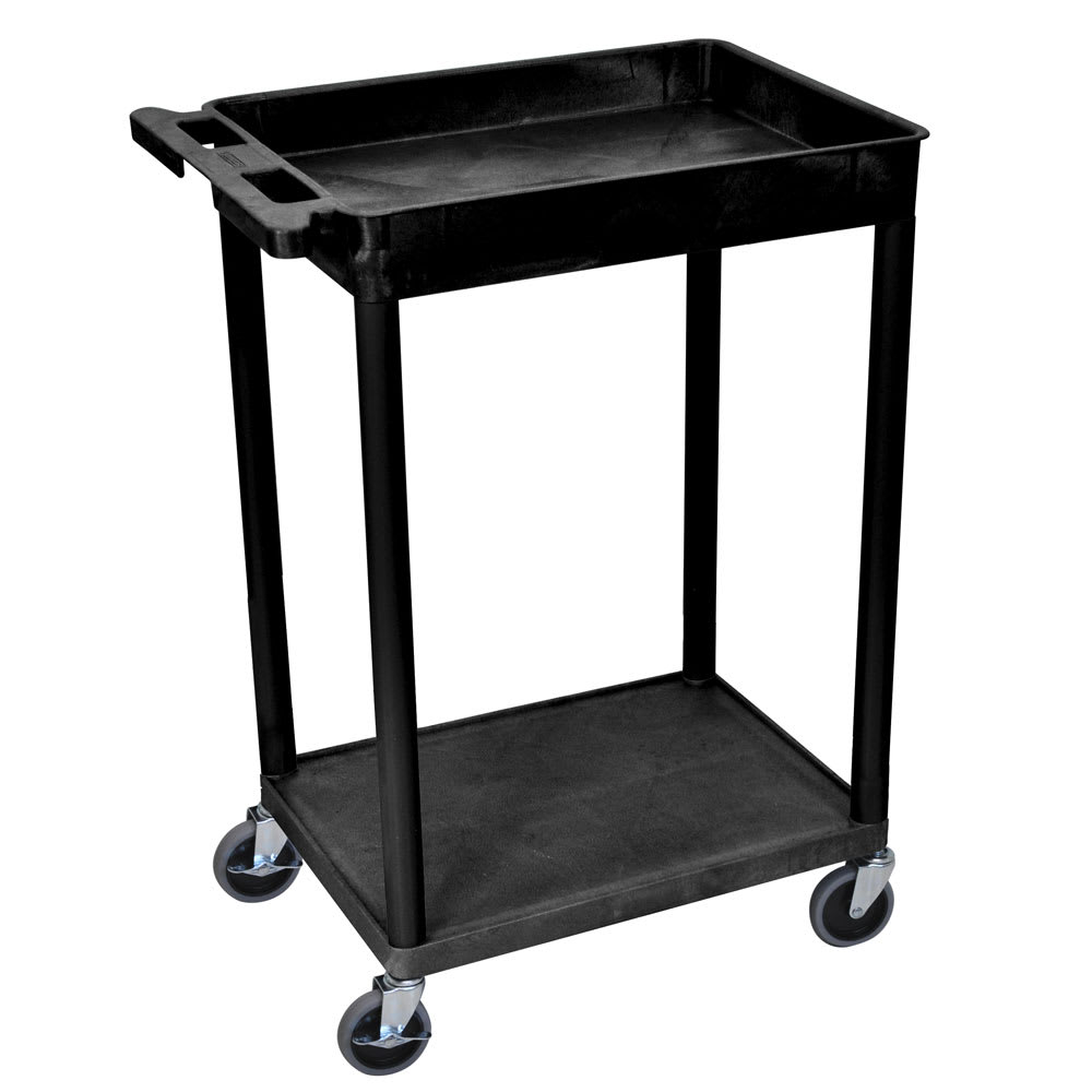 Luxor Furniture STC12-B 2 Level Polymer Utility Cart w/ 300 lb Capacity - Raised Ledges, Black