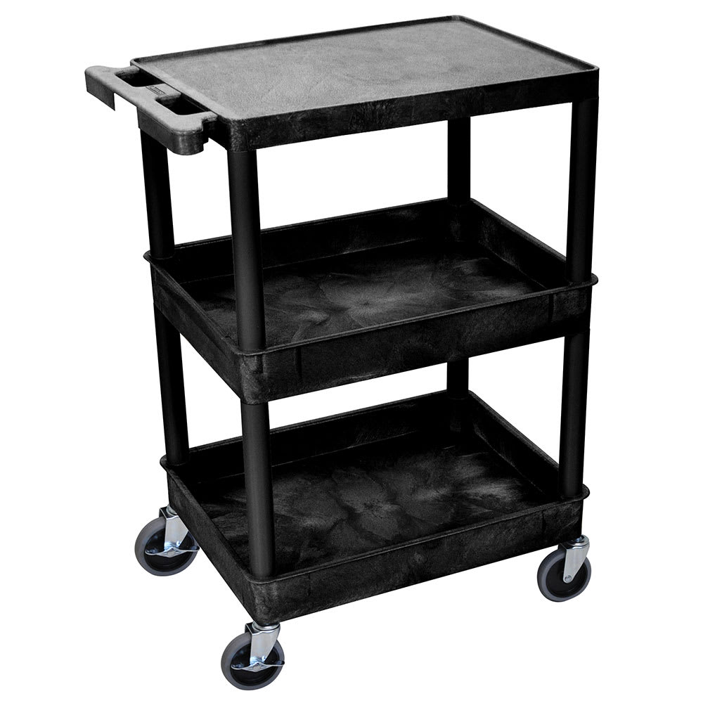 Luxor Furniture STC211-B 3-Level Polymer Utility Cart w/ 300-lb Capacity, Raised Ledges