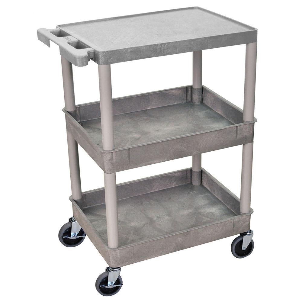 Luxor Furniture STC211-G 3-Level Polymer Utility Cart w/ 300-lb Capacity, Raised Ledges