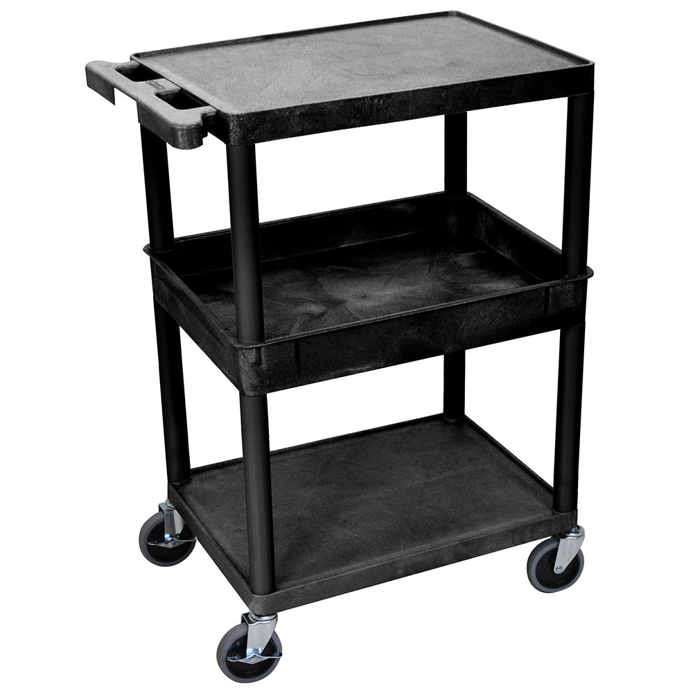 Luxor Furniture STC212-B 3-Level Polymer Utility Cart w/ 300-lb Capacity, Raised Ledges