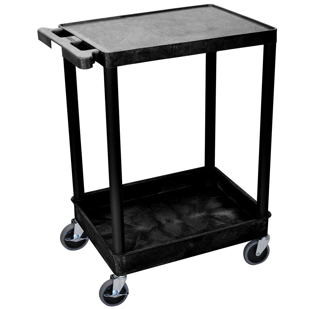 Luxor Furniture STC21-B 2-Level Polymer Utility Cart w/ 300-lb Capacity, Raised Ledges