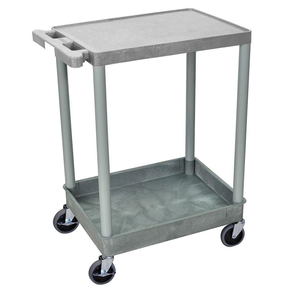 Luxor Furniture STC21-G 2-Level Polymer Utility Cart w/ 300-lb Capacity, Raised Ledges