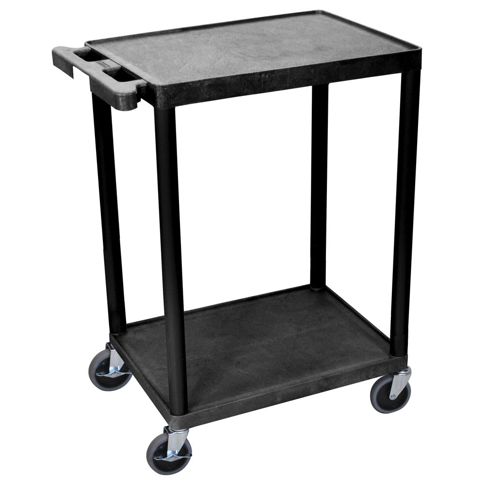 Luxor Furniture STC22-B 2-Level Polymer Utility Cart w/ 300-lb Capacity - Raised Ledges, Black