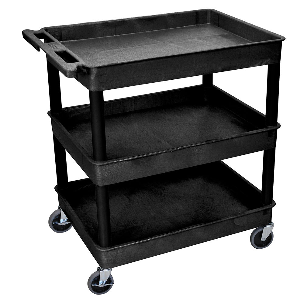 Luxor Furniture TC111-B 3-Level Polymer Utility Cart w/ 400-lb Capacity, Raised Ledges