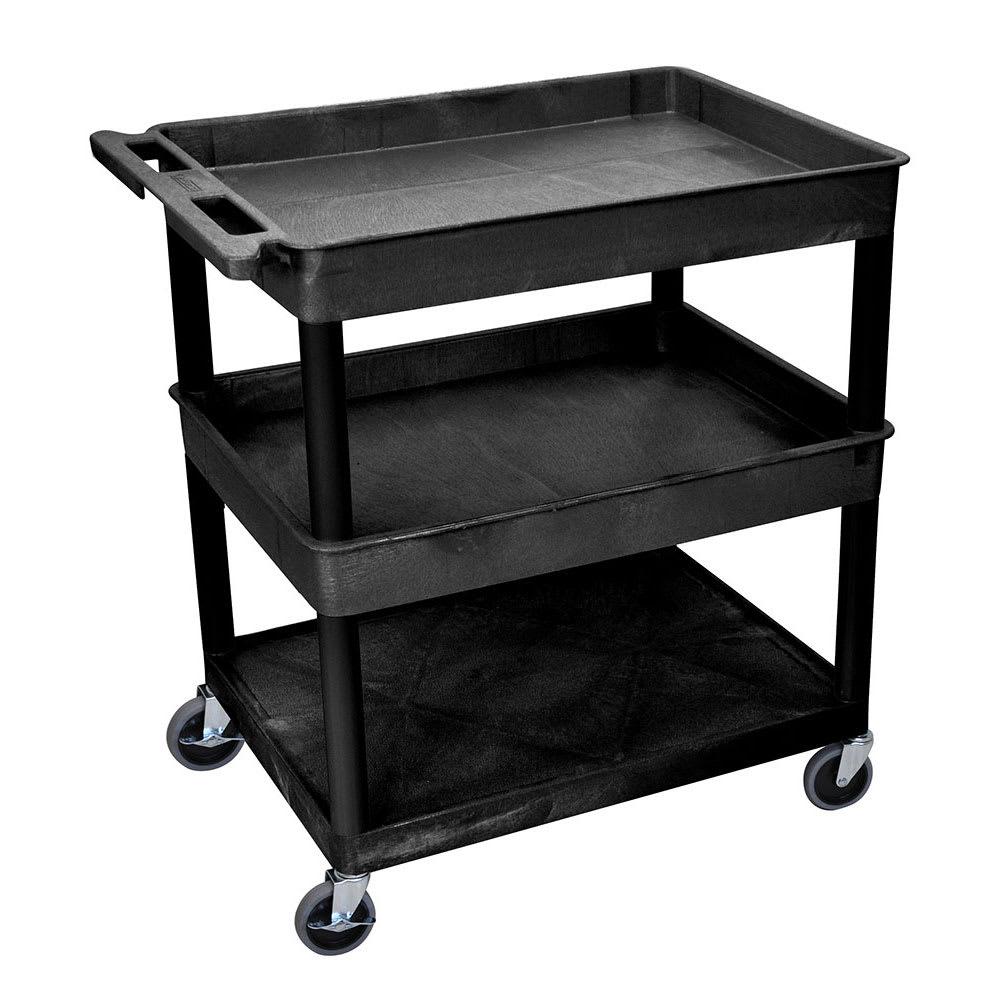 Luxor Furniture TC112-B 3-Level Polymer Utility Cart w/ 400-lb Capacity - Raised Ledges, Black
