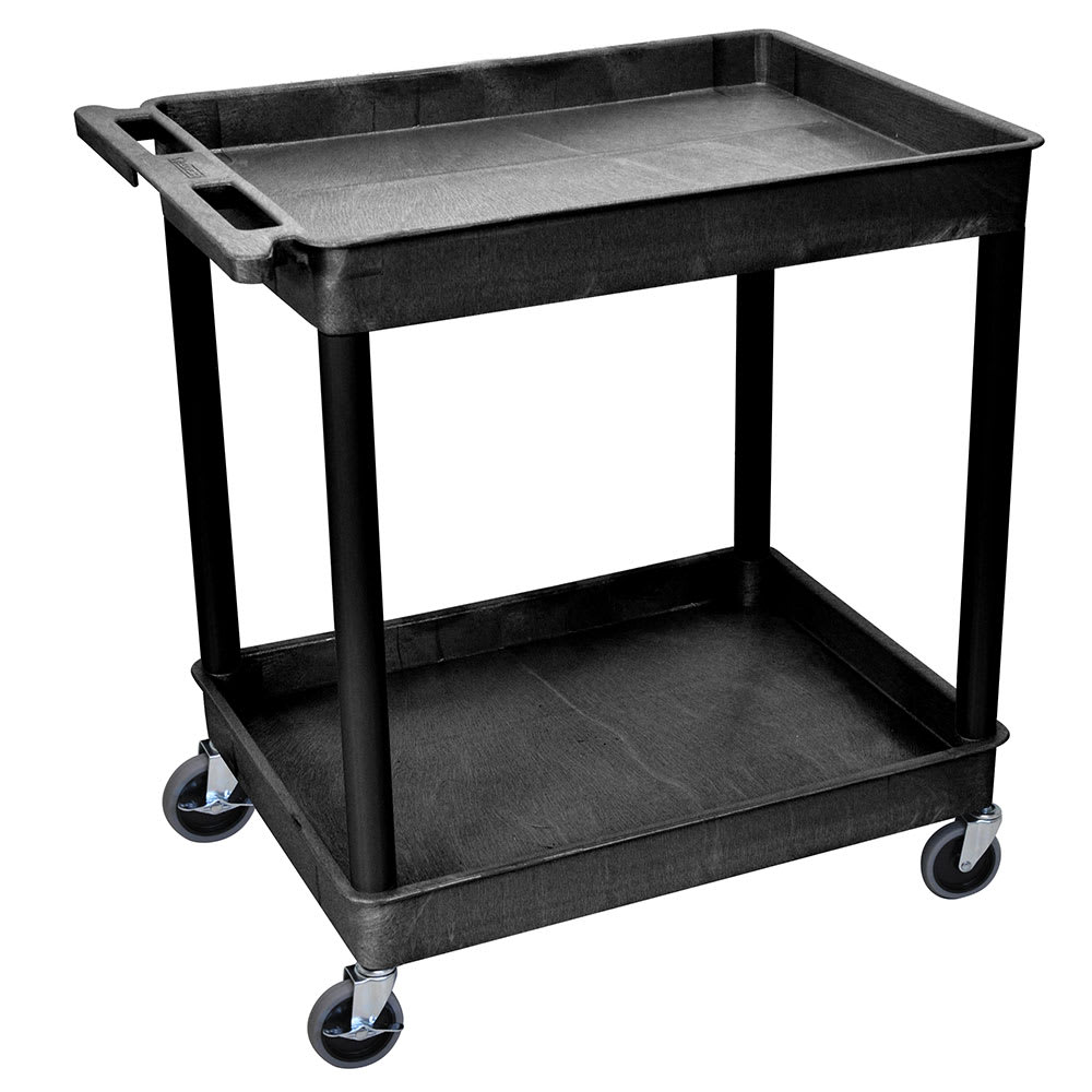 Luxor Furniture TC11-B 2 Level Polymer Utility Cart w/ 400 lb Capacity, Raised Ledges