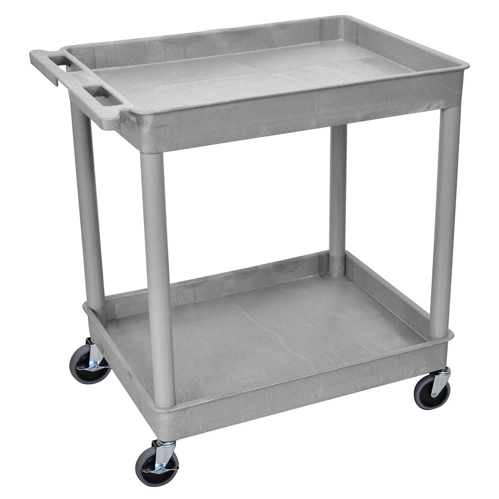 Luxor Furniture TC11-G 2-Level Polymer Utility Cart w/ 400-lb Capacity, Raised Ledges