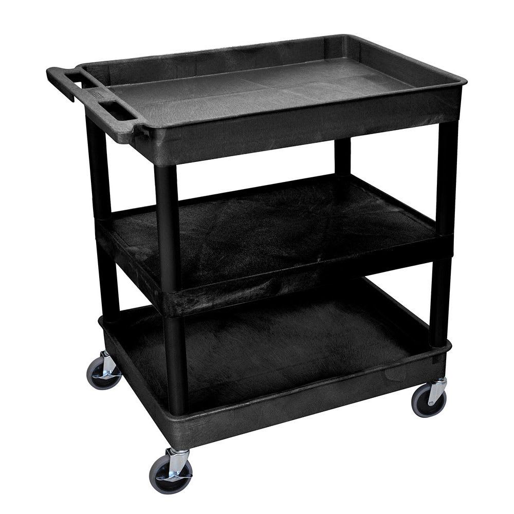 Luxor Furniture TC121-B 3-Level Polymer Utility Cart w/ 400-lb Capacity - Raised Ledges, Black