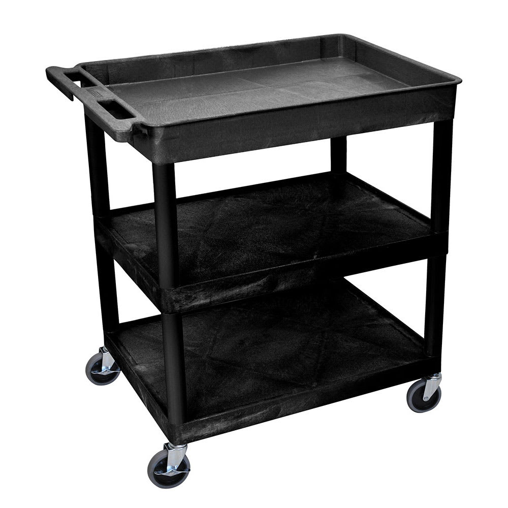 Luxor Furniture TC122-B 3-Level Polymer Utility Cart w/ 400-lb Capacity - Raised Ledges, Black