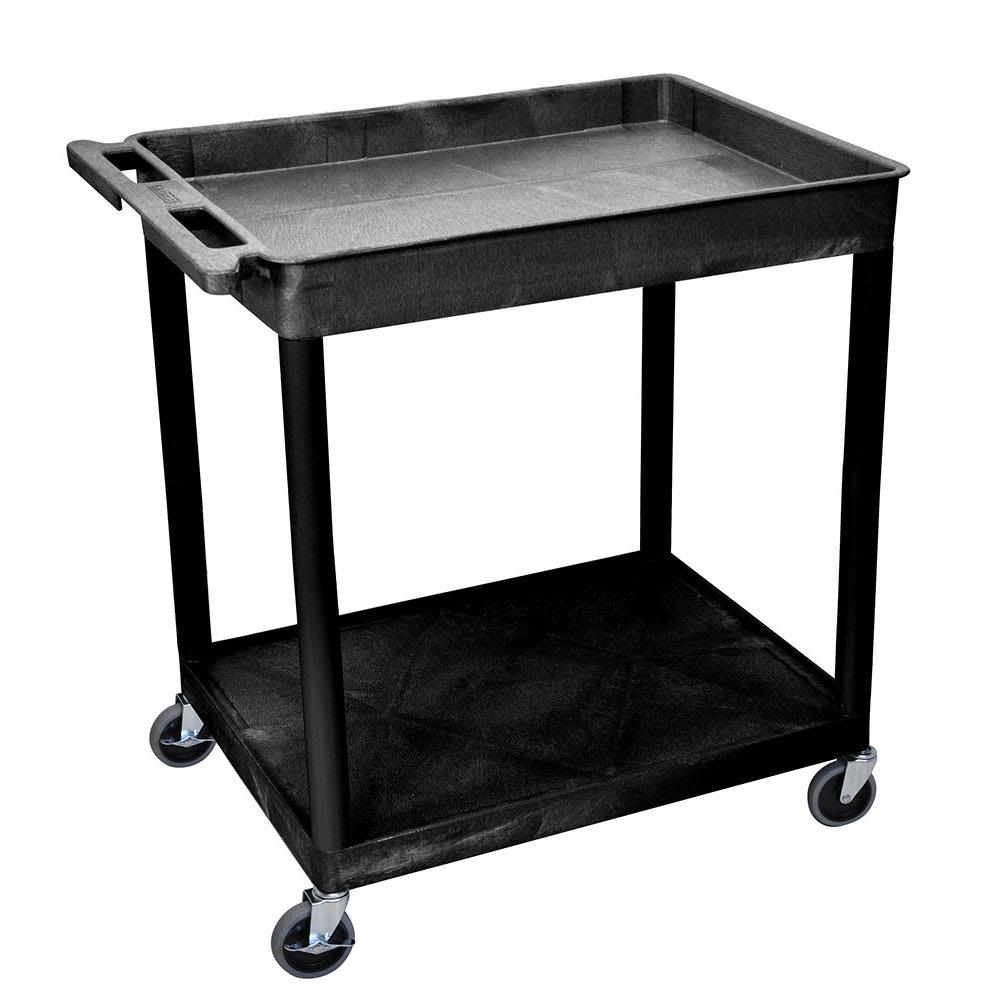 Luxor Furniture TC12-B 2-Level Polymer Utility Cart w/ 400-lb Capacity - Raised Ledges, Black
