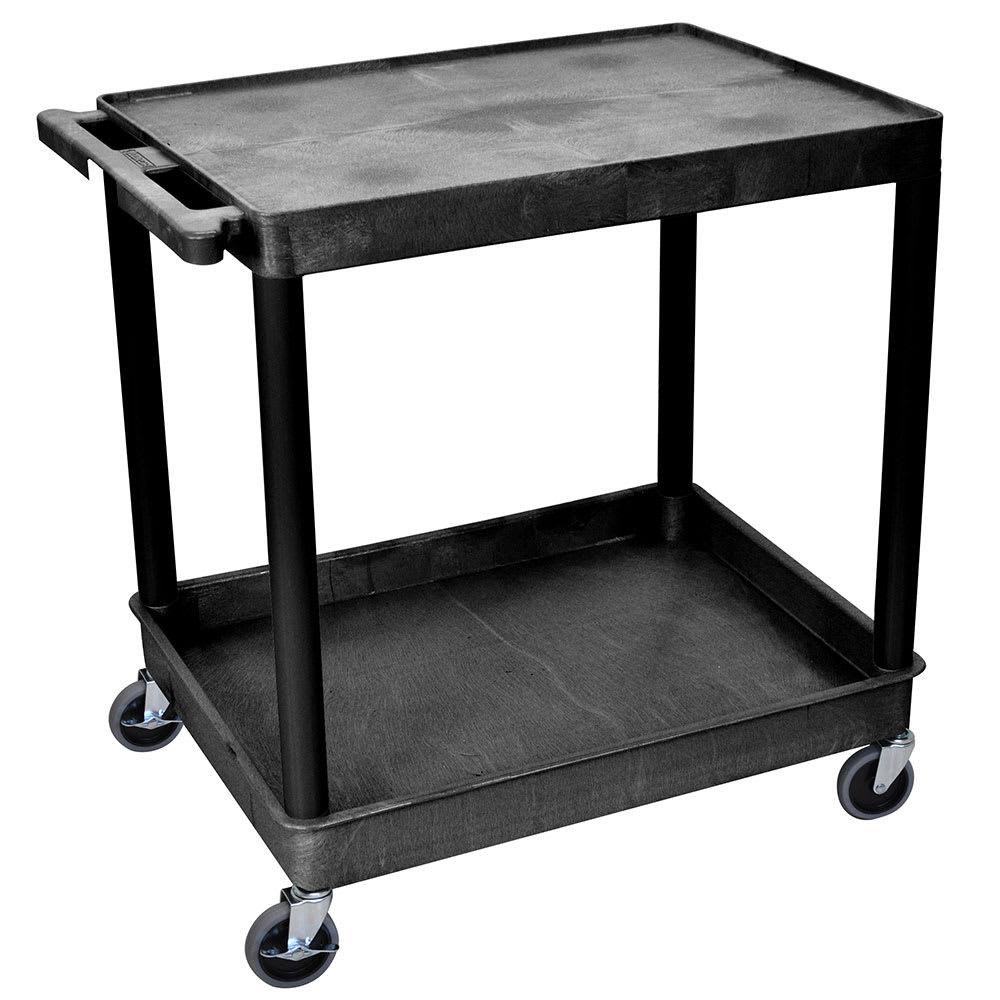 Luxor Furniture TC21-B 2 Level Polymer Utility Cart w/ 400 lb Capacity, Raised Ledges