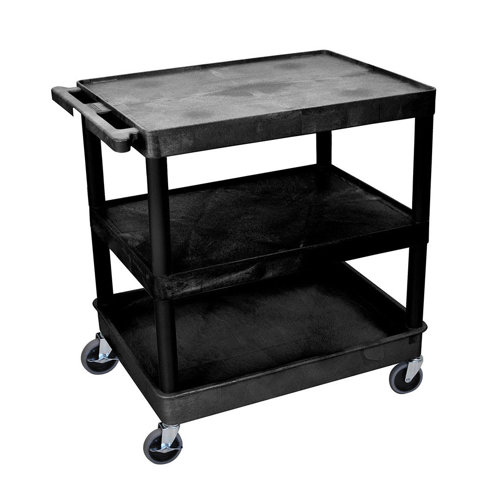 Luxor Furniture TC221-B 3-Level Polymer Utility Cart w/ 400-lb Capacity - Raised Ledges, Black