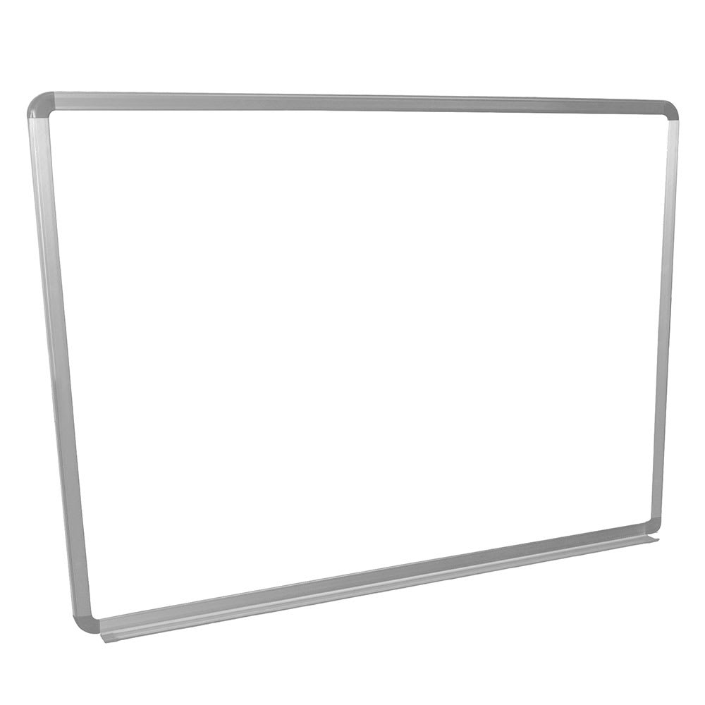 "Luxor Furniture WB4836W 48x36"" Painted Steel Magnetic White Board w/ Aluminum Frame & Tray"