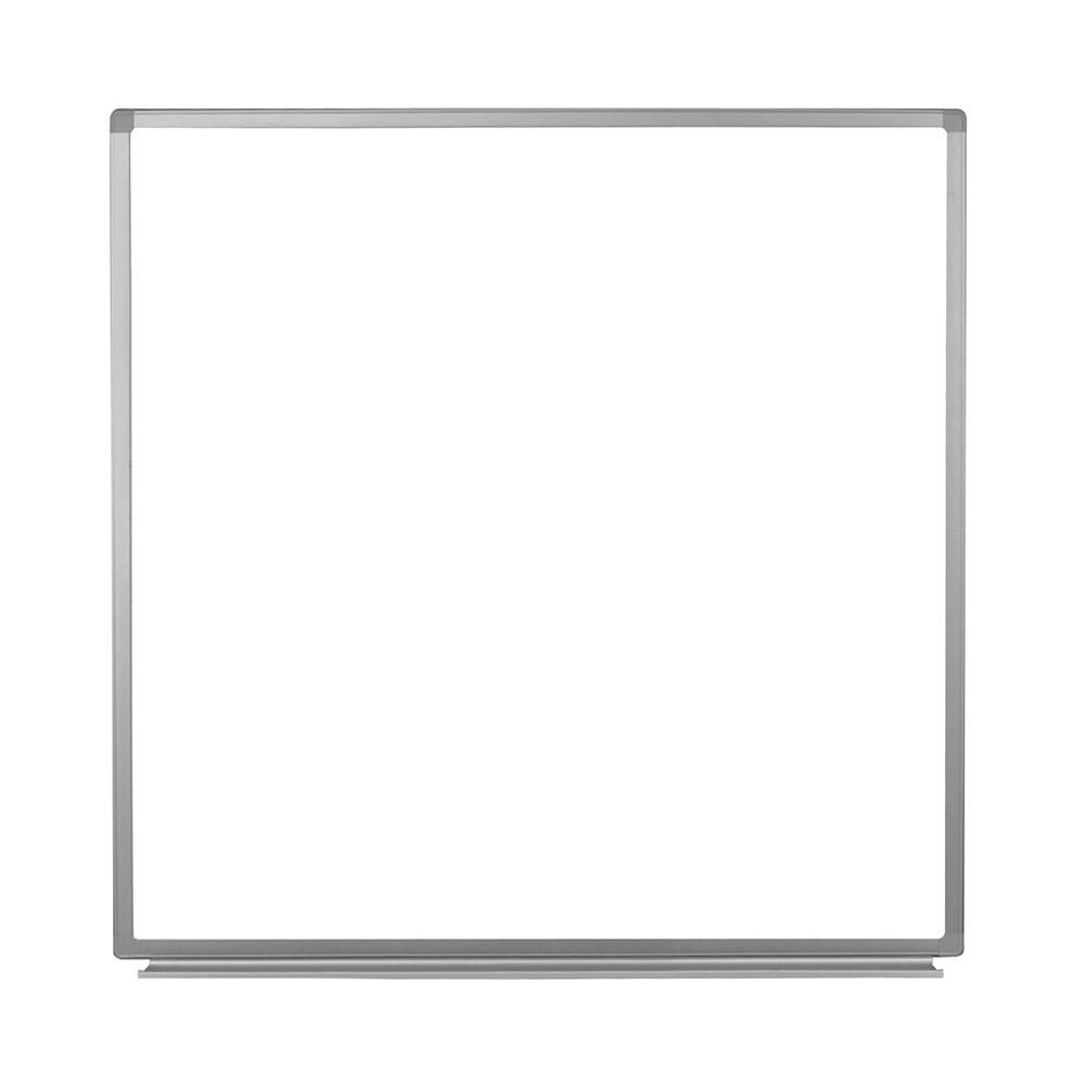 "Luxor Furniture WB4848W 48"" Square Wall-Mounted Whiteboard w/ Aluminum Frame"