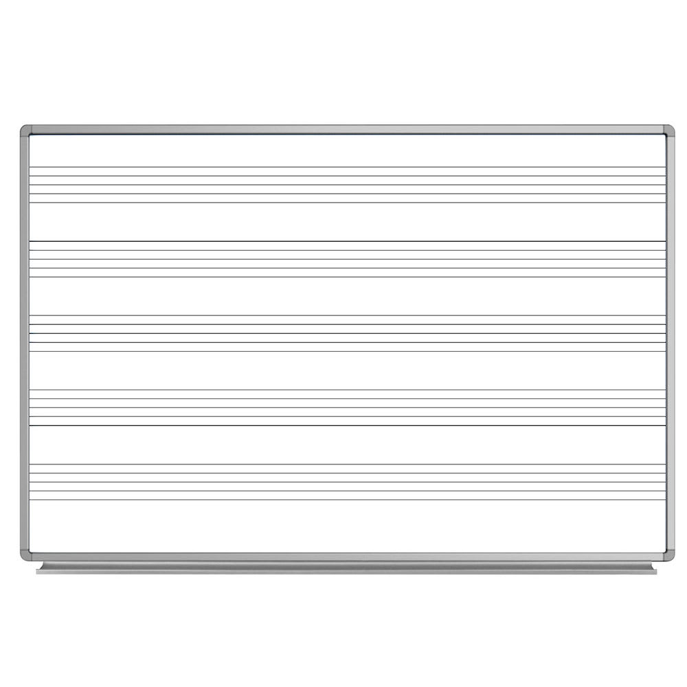"Luxor Furniture WB7248M 72"" x 48"" Wall-Mounted Music Whiteboard w/ Aluminum Frame"