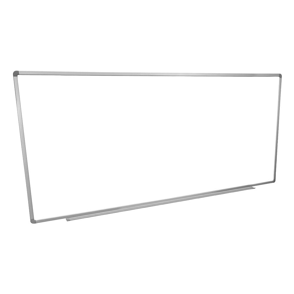 "Luxor Furniture WB9640W 96x40"" Painted Steel Magnetic White Board w/ Aluminum Frame & Tray"