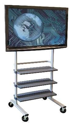 Luxor Furniture WFP100 Mobile LCD TV Mount w/ Heavy Duty Plastic Shelves, Gray Finish