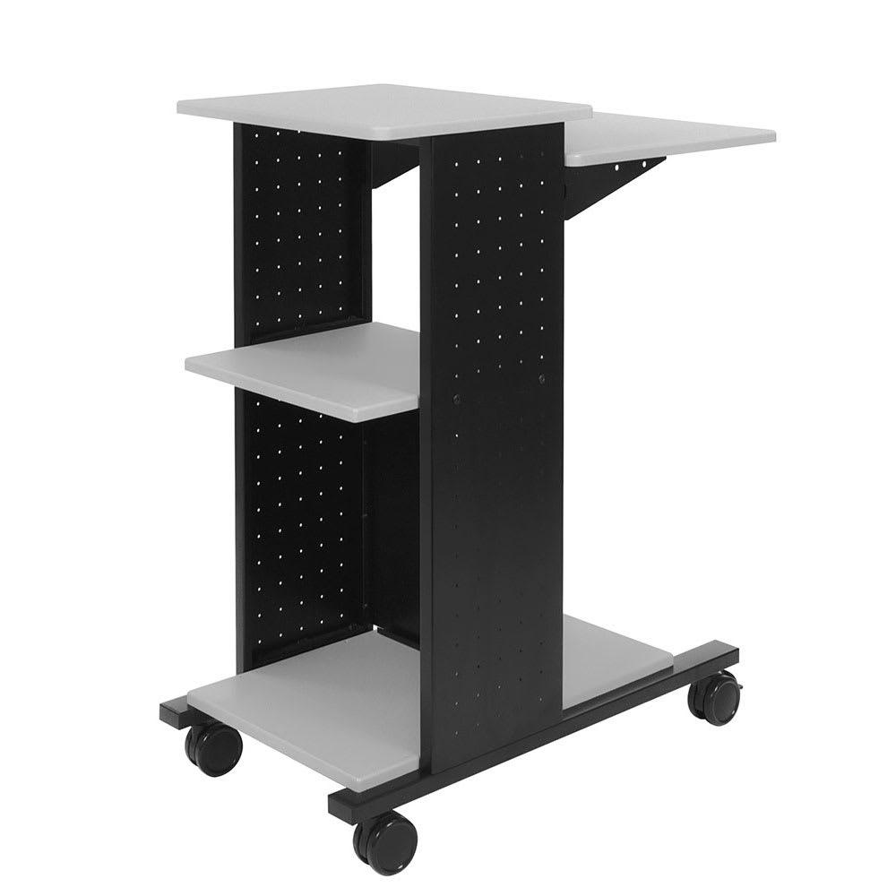 """Luxor Furniture WPS4 40"""" Mobile Presentation Workstation w/ (4) Shelves - Steel Frame, Black/Gray"""