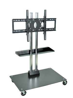 """Luxor Furniture WPSMS44CH-4 Mobile Flat Panel TV Stand & Mount, Accomodates Up to 60"""", Black Base"""