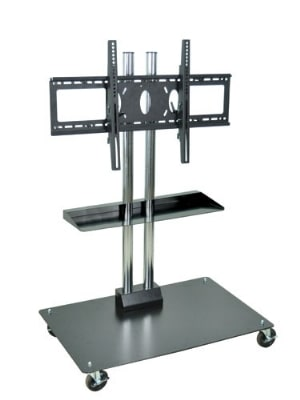 "Luxor Furniture WPSMS44SCH-4 Mobile Flat Panel TV Stand & Mount w/Shelf, Accomodates to 60"", Black Base"