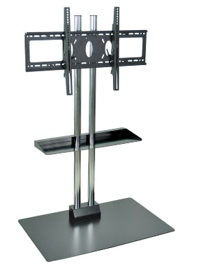 """Luxor Furniture WPSMS62CH Stationary Flat Panel TV Stand & Mount, Accomodates to 60"""", Black Base"""
