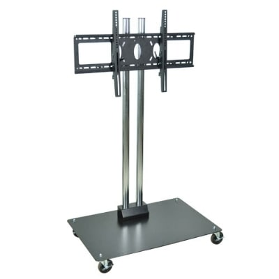 "Luxor Furniture WPSMS62CH-4 Mobile Flat Panel TV Stand & Mount, Accomodates to 60"", Black Base"