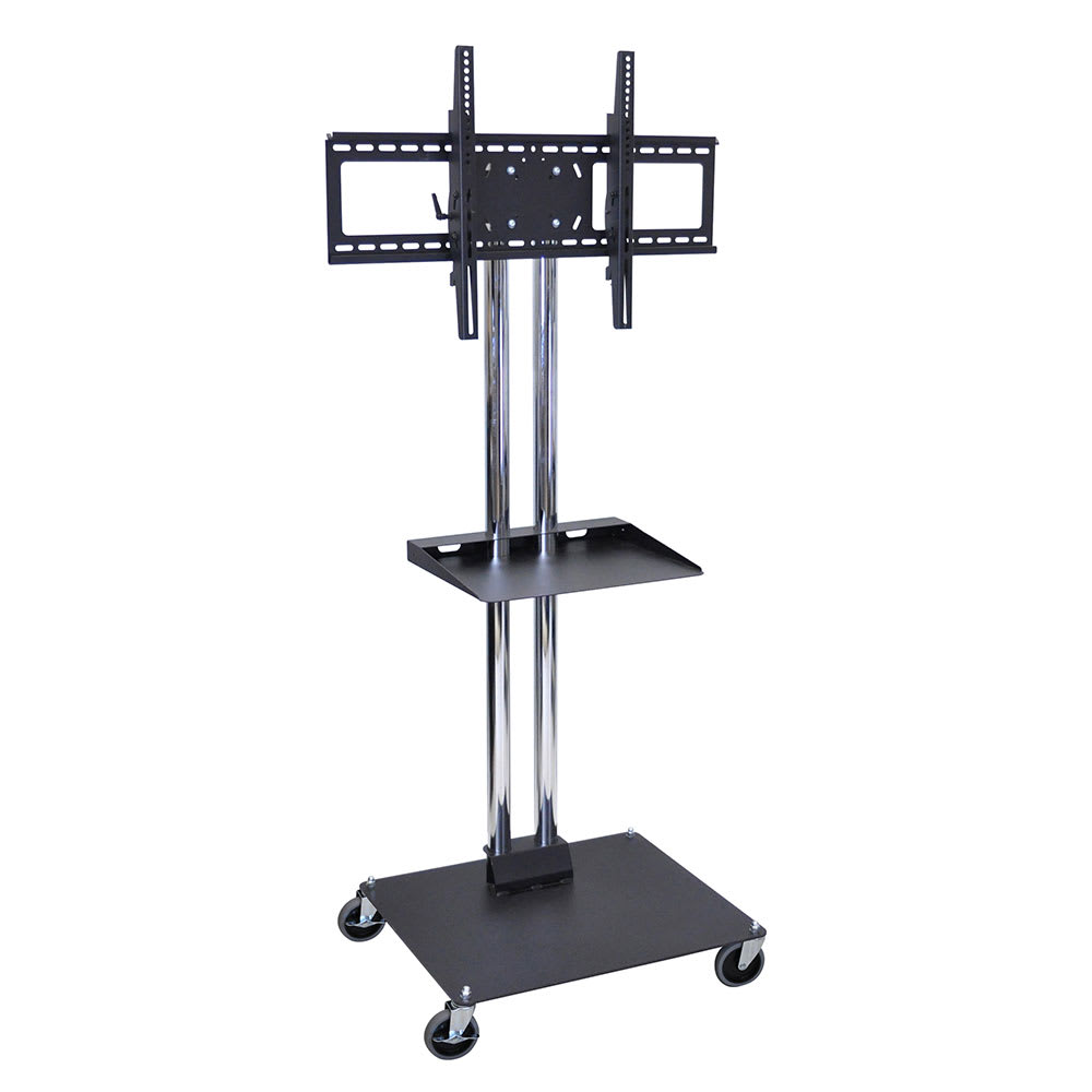 "Luxor Furniture WPSMS62SCH-4 Mobile Flat Panel TV Stand & Mount w/ Shelf, Accomodate to 60"", Black Base"
