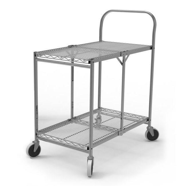 Luxor Furniture WSCC-2 2 Level Steel Utility Cart w/ 200 lb Capacity - Flat Ledges, Wire
