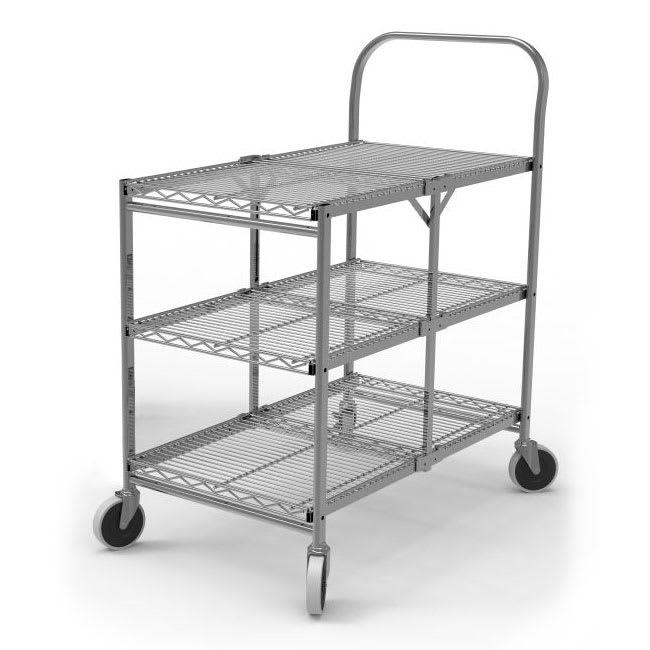 Luxor Furniture WSCC-3 3 Level Steel Utility Cart w/ 200 lb Capacity - Flat Ledges, Wire