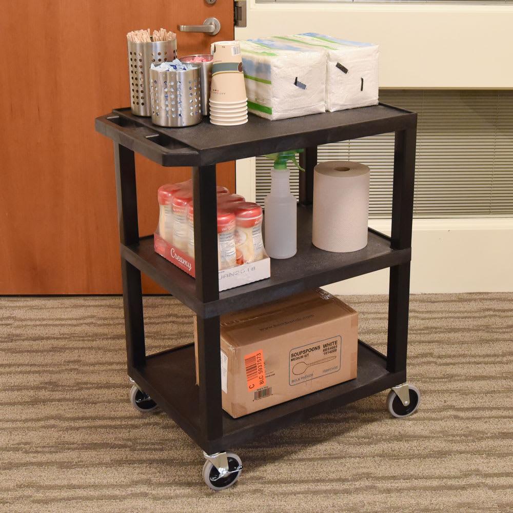 "Luxor Furniture WT34 34"" 3-Level A/V Utility Cart w/ 300-lb Capacity - Plastic, Black"