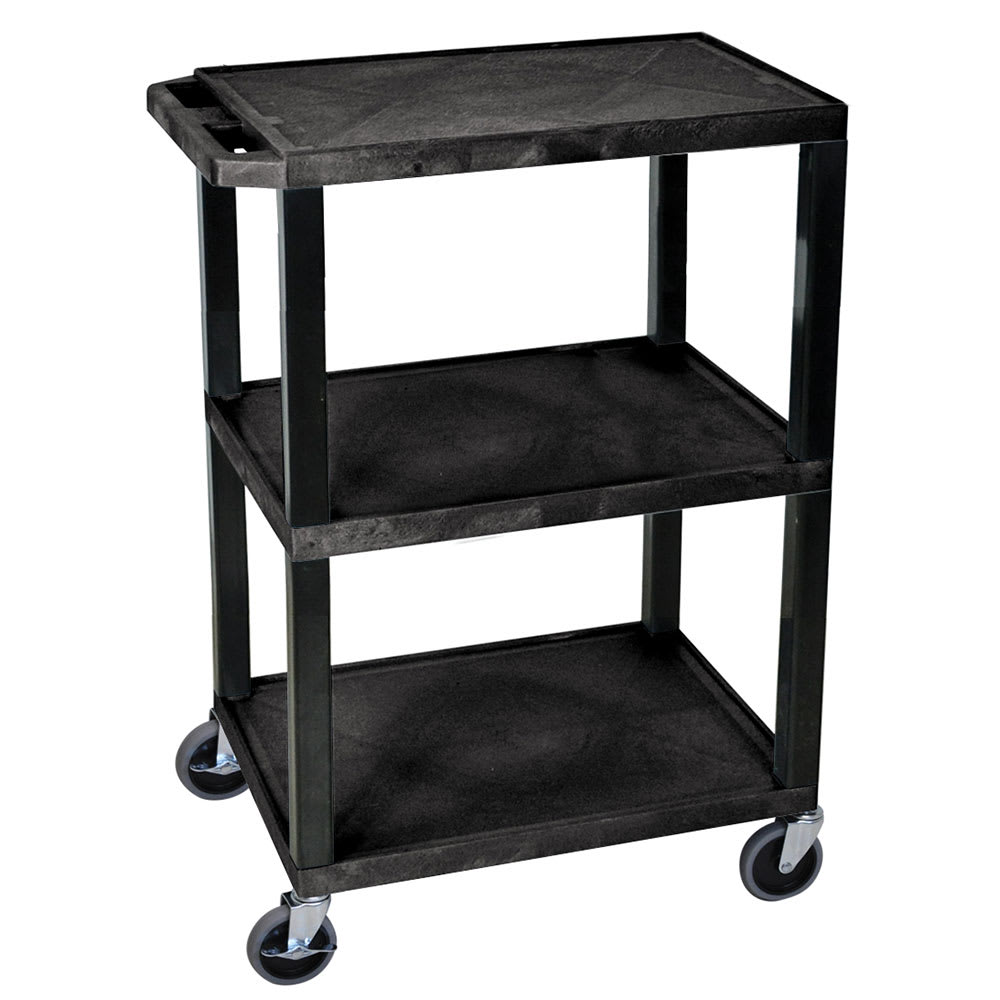 Luxor Furniture WT34S 3-Level Polymer Utility Cart w/ Raised Ledges