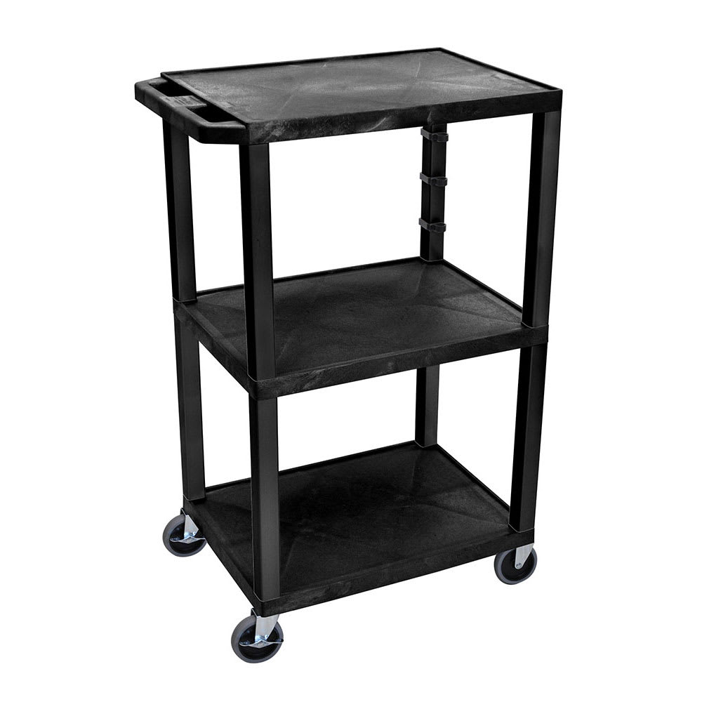 "Luxor Furniture WT42 42.5"" 3-Level A/V Utility Cart w/ 300-lb Capacity - Plastic, Black"
