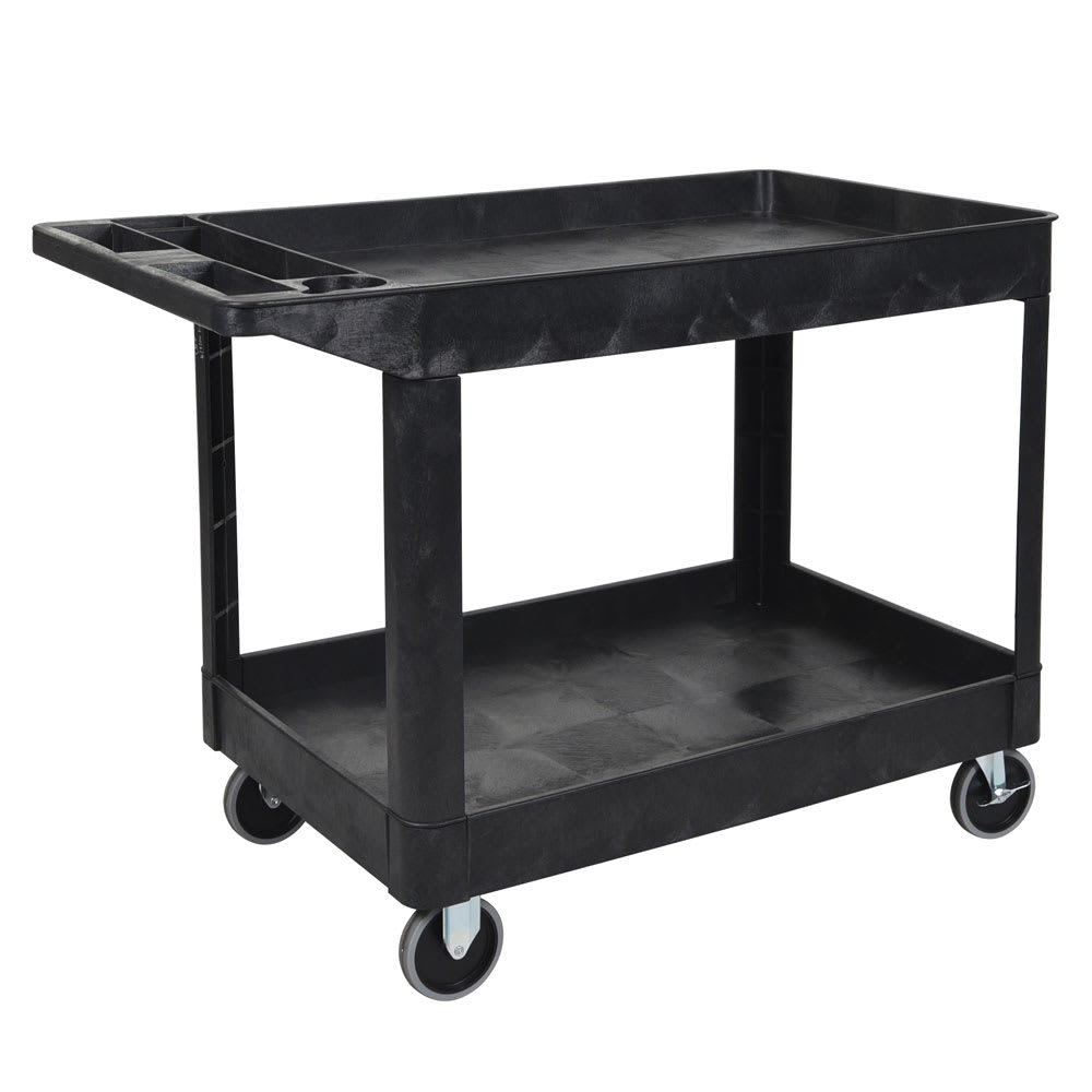 Luxor Furniture XLC11-B 2-Level Polymer Utility Cart w/ 500-lb Capacity - Raised Ledges, Black