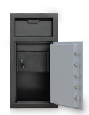 Mesa MFL2714K-ILK BLKGR Depository Safe, 27.5-in, 1.3-cu ft, Keyed Lock, Black & Grey