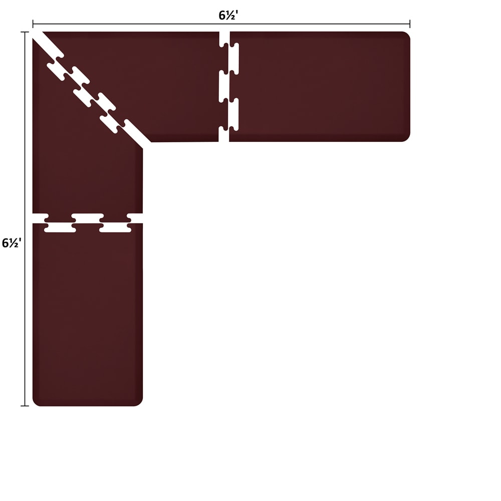Wellness Mats LS2WMP6565BUR L-Series Puzzle Piece Collection w/ Non-Slip Top & Bottom, 6.5x6.5x2-ft, Burgundy