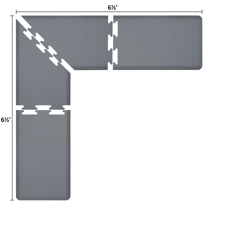 Wellness Mats LS2WMP6565GRY L-Series Puzzle Piece Collection w/ Non-Slip Top & Bottom, 6.5x6.5x2-ft, Gray