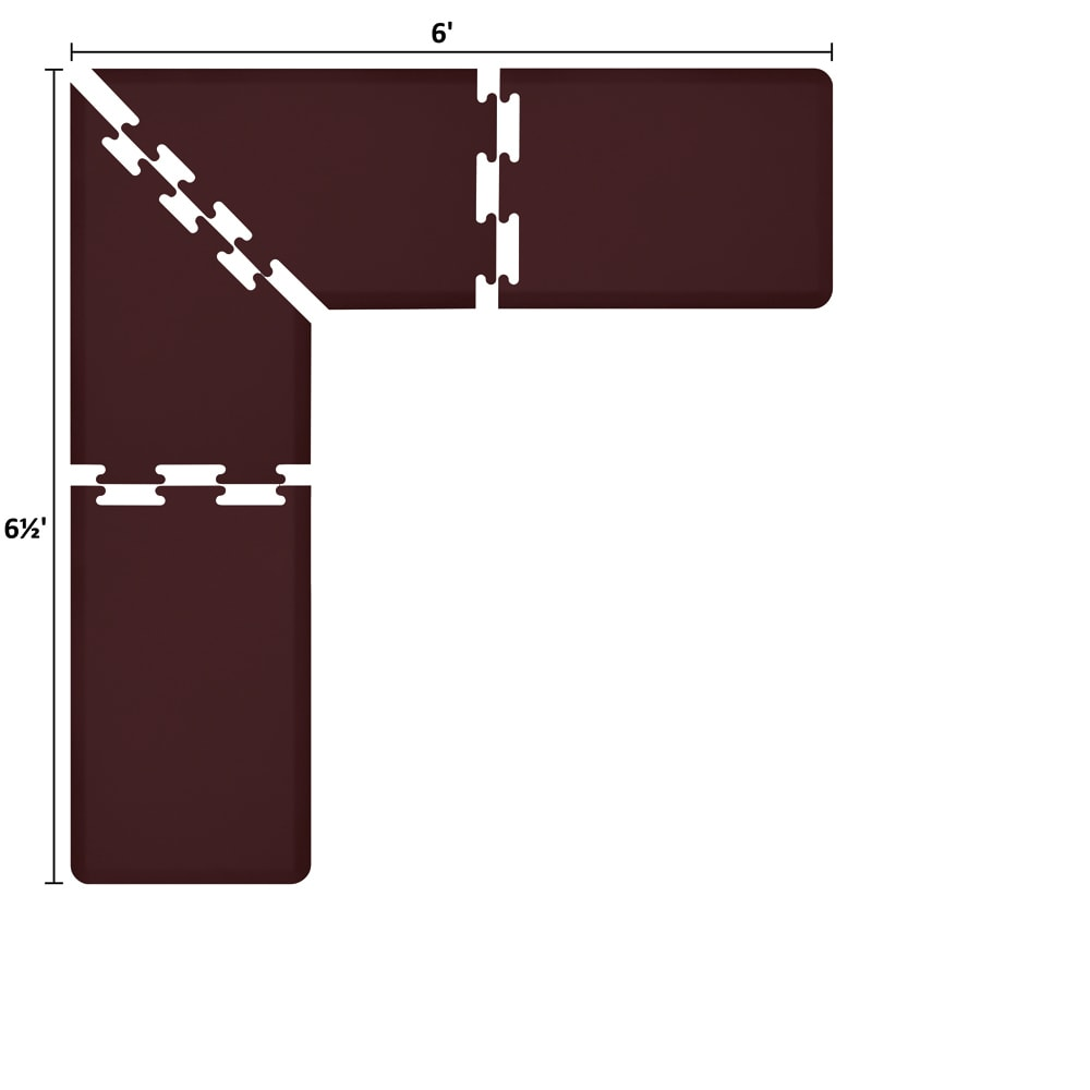 Wellness Mats LS2WMP656BUR L-Series Puzzle Piece Collection w/ Non-Slip Top & Bottom, 6.5x6x2-ft, Burgundy
