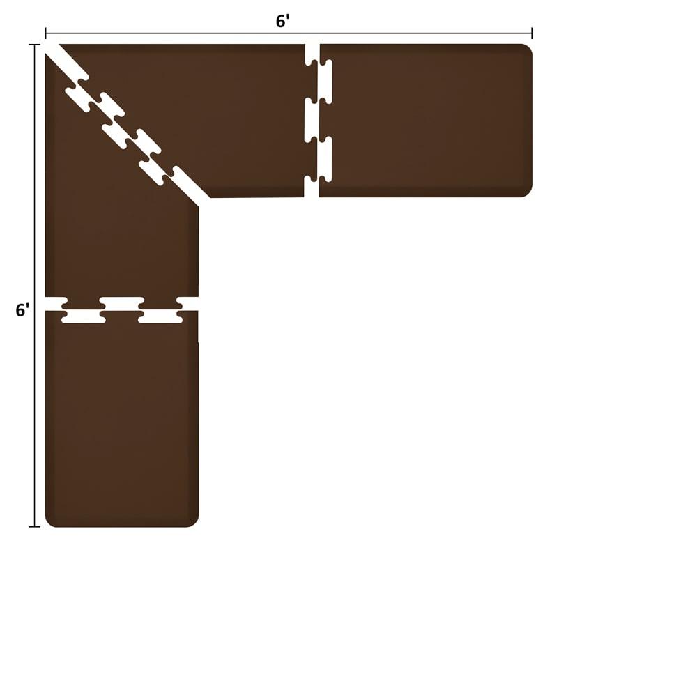 Wellness Mats LS2WMP66BRN L-Series Puzzle Piece Collection w/ Non-Slip Top & Bottom, 6x6x2-ft, Brown