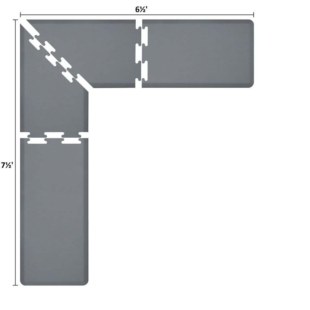 Wellness Mats LS2WMP7565GRY L-Series Puzzle Piece Collection w/ Non-Slip Top & Bottom, 7.5x6.5x2-ft, Gray