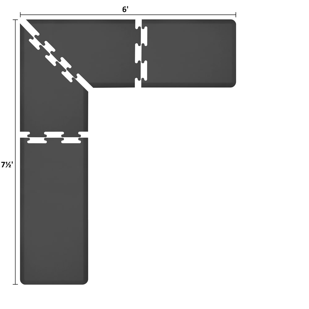 Wellness Mats LS2WMP756BLK L-Series Puzzle Piece Collection w/ Non-Slip Top & Bottom, 7.5x6x2-ft, Black