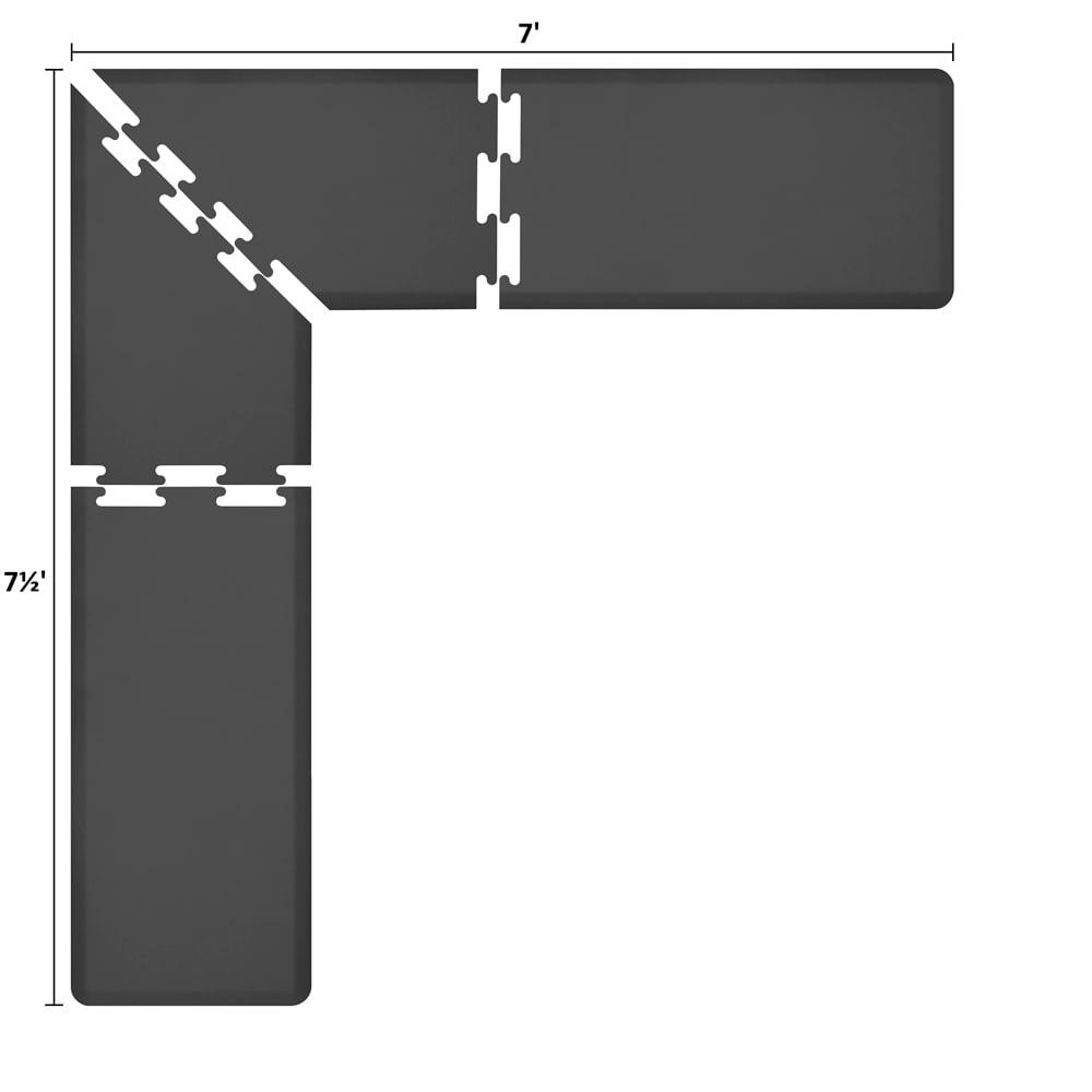 Wellness Mats LS2WMP757BLK L-Series Puzzle Piece Collection w/ Non-Slip Top & Bottom, 7.5x7x2-ft, Black