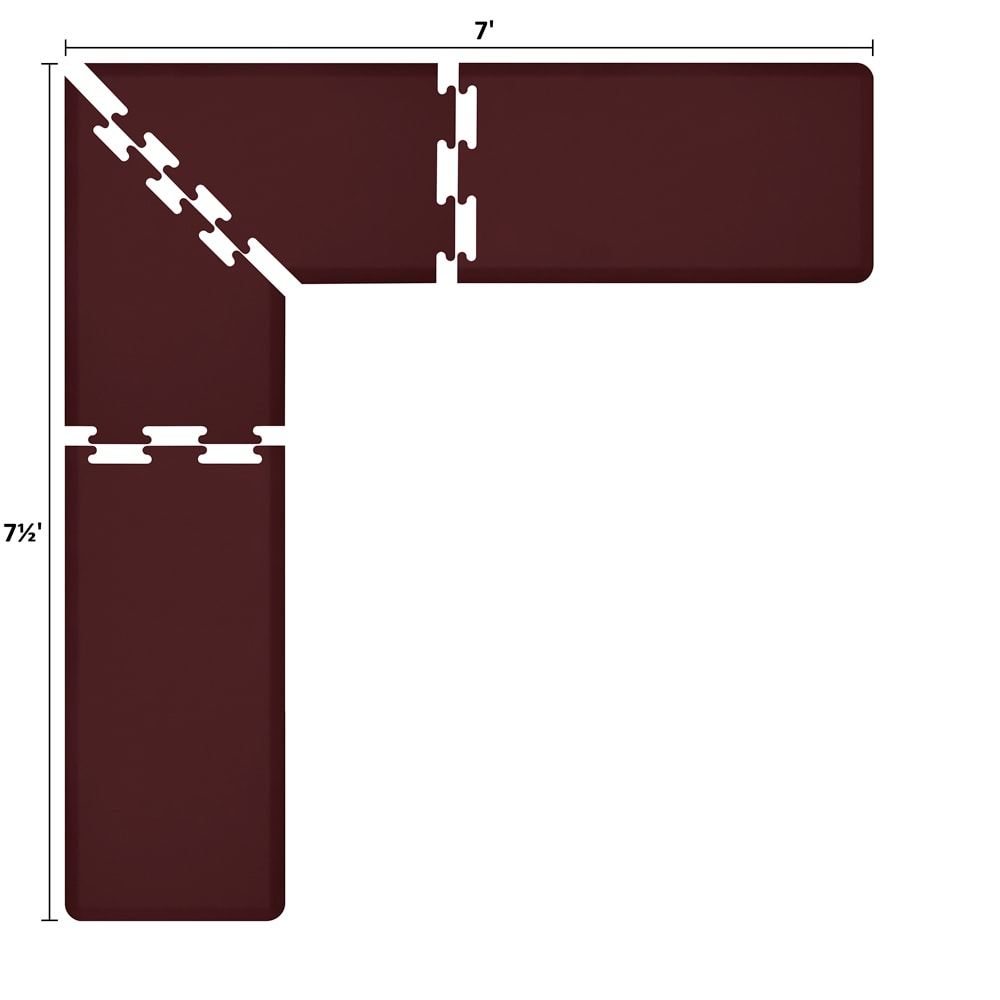 Wellness Mats LS2WMP757BUR L-Series Puzzle Piece Collection w/ Non-Slip Top & Bottom, 7.5x7x2-ft, Burgundy